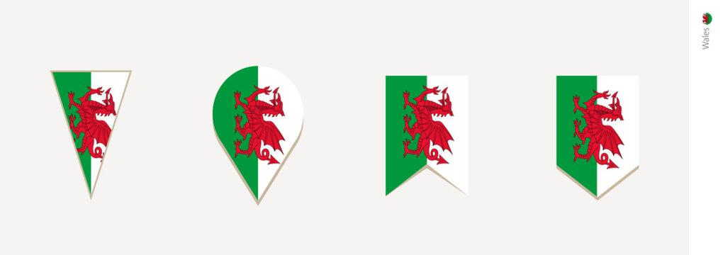 Wales flag in vertical design, vector illustration