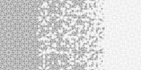 Tile seamless vector pattern. Geometric halftone background with grey arabesque disintegration or breaking - Vector