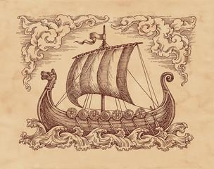 Старинный средневековый парусный корабль викингов. Рисунок на старой бумаге.