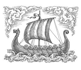 Старинный парусный корабль викингов. Рисунок тушью.
