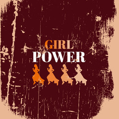 Girl power.Quote typographical background with hand drawn elements and female runner. Vector template for poster, business card and banner