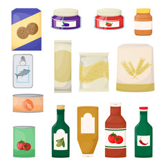 Set of grocery. Product. Jam, oil, pasta, flour, cookie and canned. Cartoon vector