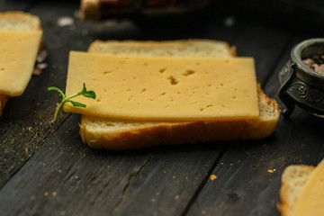 cheese, sandwich, bread (delicious snack). Top. Food background