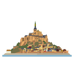 Le Mont-Saint-Michel village and monastery at France flat design vector Icon