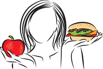 woman nutrition choice illustration