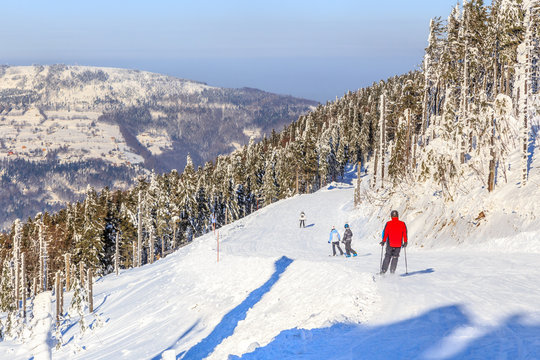 Winter landscape in a ski resort on Skrzyczne slopes in Szczyrk