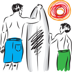 man and boy surfers illustration