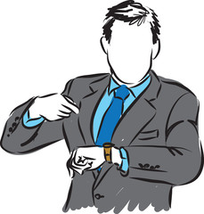 BUSINESSMAN LOOKING AT TIME illustration