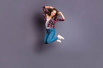 Full length body size view portrait of her she nice cool shine look attractive lovely charming pretty cheerful wavy-haired lady life lifestyle isolated over gray background