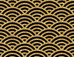 Modèle vectorielle continue. Motif ornemental asiatique traditionnel. Arrière-plan transparent d& 39 un ornement floral oriental doré, papier peint ou textile moderne à la mode. Design carrelé de luxe élégant.