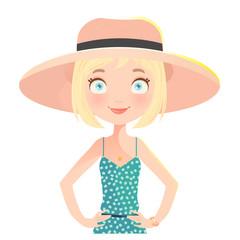 Blonde Girl wearing summer hat