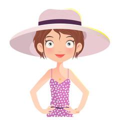 Brunette Girl wearing summer hat