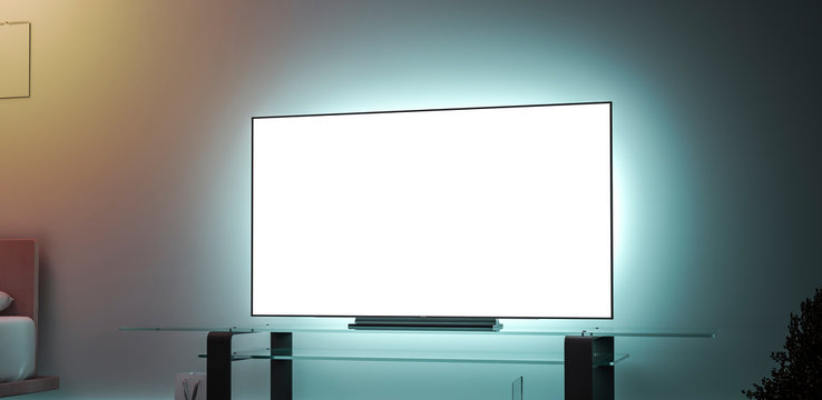 Blank white large tv screen interior in darkness mockup