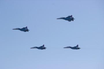 Russia, Krasnoyarsk, October 2018. Show military aircraft.