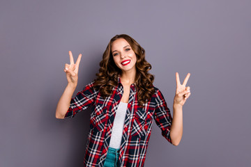Wall Mural - Portrait of nice cute attractive charming pretty winsome gorgeous cheerful wavy-haired lady cool shine look showing double v-sign isolated over gray pastel violet background