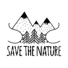 Eco vector illustration with mountains, pine trees, bear paws and lettering motivational quote - save the nature.