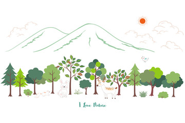 Cute cartoon animals wildlife with nature landscape background for kid product,print,t-shirt or textile