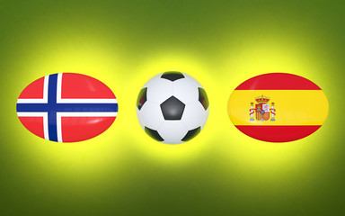 European Football Championship 2020. Schedule for football matches Norway - Spain. Flags of countries and soccer ball. 3D illustration.