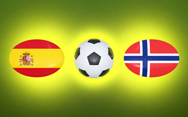 European Football Championship 2020. Schedule for football matches Spain - Norway. Flags of countries and soccer ball. 3D illustration.