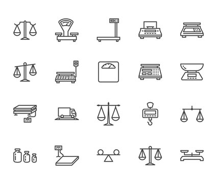 Balance flat line icons set. Weight measurement tools, diet scales, trade, electronic industrial scale calibration vector illustrations. Thin sign justice concept. Pixel perfect 64x64 Editable Stroke