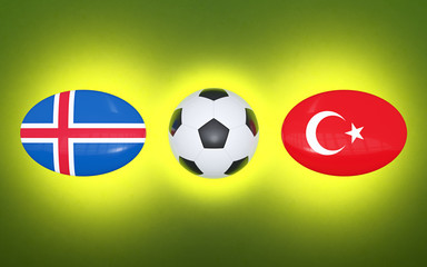 European Football Championship 2020. Schedule for football matches Iceland - Turkey. Flags of countries and soccer ball. 3D illustration.