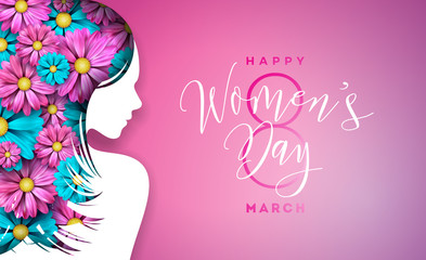 Happy Womens Day Floral Greeting Card Design. International Female Holiday Illustration with Women Silhouette, Flower and Typography Letter Design on Pink Background. Vector International 8 March