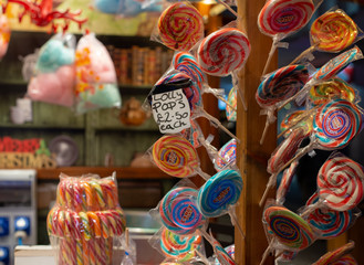 Lollypops at Christmas market stall