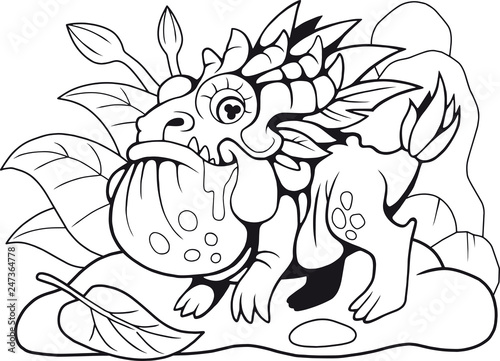 cute little dragon toad, coloring book, funny illustration ...