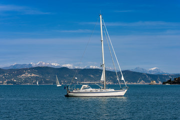 Sailboats in the Gulf of La Spezia in winter - Italy