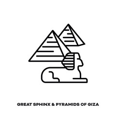Great Sphinx and pyramids of Giza, Egypt, vector line icon.