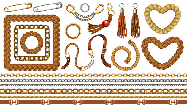 Set with belts and gold and silver chains, fringe for fabric design, wallpapers, prints. Isolated vector illustration with metallic accessories.