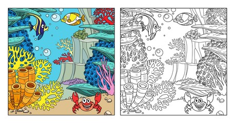Underwater world with fishes, crab, corals and anemones color and outlines for coloring page on white background