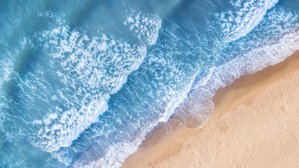 Beach and waves from top view. Aerial view of luxury resting at sunny day. Summer seascape from air. Top view from drone. Travel-image