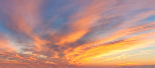 Photo sur cadre textile Ciel Panoranic Sunrise Sky with colorful clouds