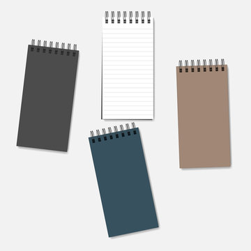 Wire spiral notebook - lined page and multicolored covers, mockup set