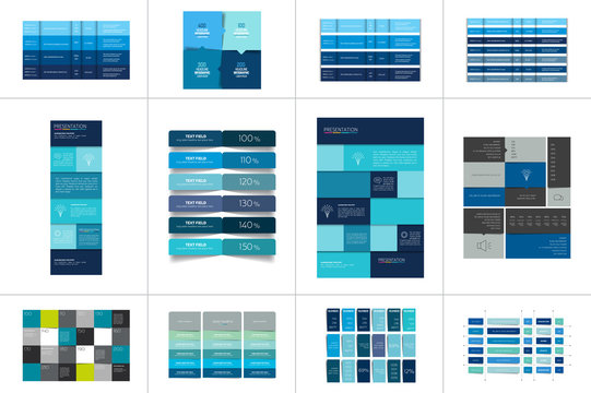 Big set of tables, schedules, banners. Step by step infographic.