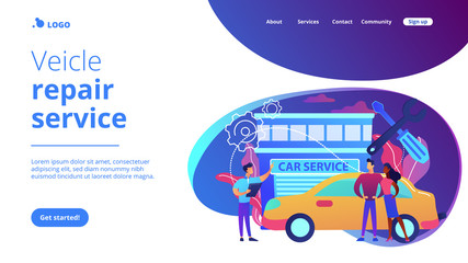 Auto mechanic and business people at car service having their car repaired. Car service, automobile repair shop, vehicle repair service concept. Website vibrant violet landing web page template.