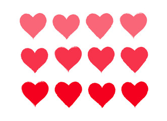 Red heart vector set for Valentine`s day design on white background.