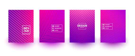 Minimal cover layout designs. Bright neon gradients. Abstract geometric backgrounds