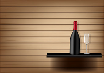 Mock up Realistic Wine Bottle and Glass  on Abstract Wood Background Illustration Vector