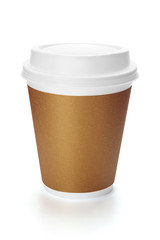 Disposable paper coffee cup with plastic lid.