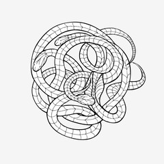 Drawing for coloring, mehendi. Wriggling snake on a white background.