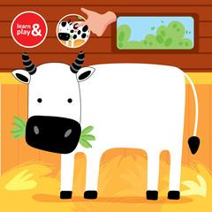 Finger Drawing Game Cow Printable Worksheet Cartoon Vector