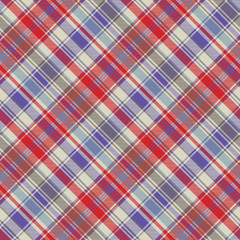 Red plaid tartan fabric texture seamless pattern