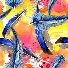 Foto op Canvas Paradijsvogel Bird feather from wing isolated. Watercolor background illustration set. Seamless background pattern.