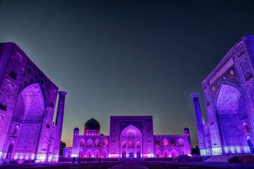 Light up of Registan Square in Samarkand, Uzbekistan.