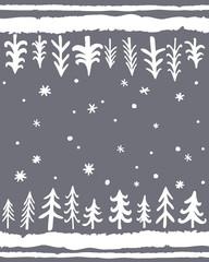Winter Floor Mat design.Vector hand-drawn seamless pattern with Doodle Pine tTees. Floral Scandinavian Nordic Background