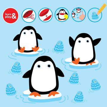 Cut Glue Penguin Children Paper Winter Game