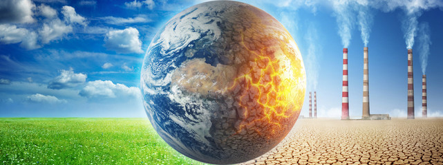 Earth on a background of grass and clouds versus a ruined Earth on a background of a dead desert. Concept on ecology, global warming, science, education, etc.