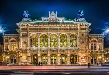 Vienna State Opera at night, Vienna, Austria. Wall mural